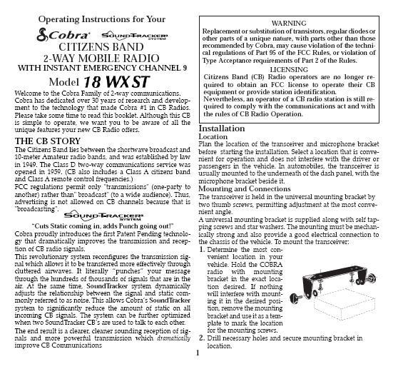 cobra 18 wx st manual